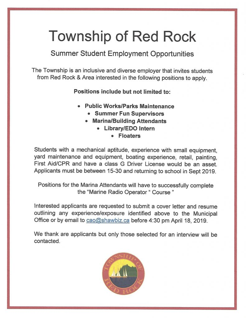 Summer Student Jobs | Red Rock Township